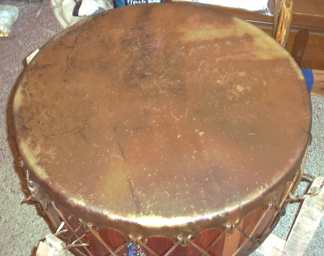 Native American Powwow Drum - The Drum People use Tough, Unbleached BULL Hide Organically Tanned