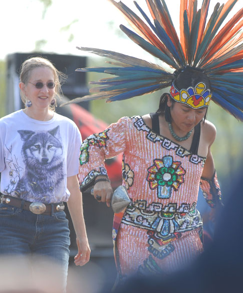 Cheryl Dancing with Aztec Fire Dancers at Native American Powwow