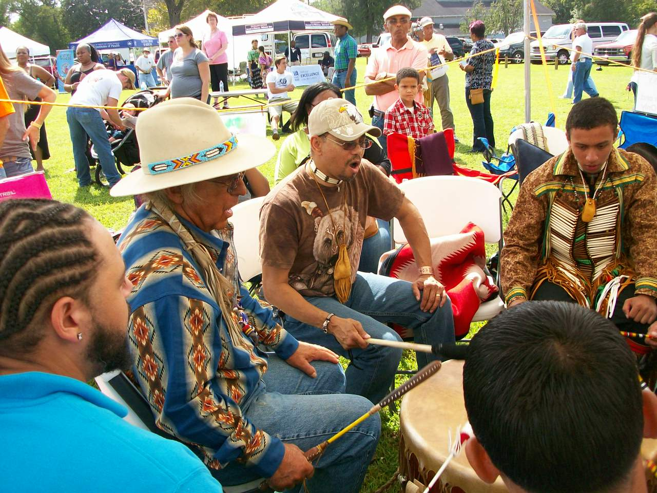 Keith Little Badger Playing Native American Powwow Drum