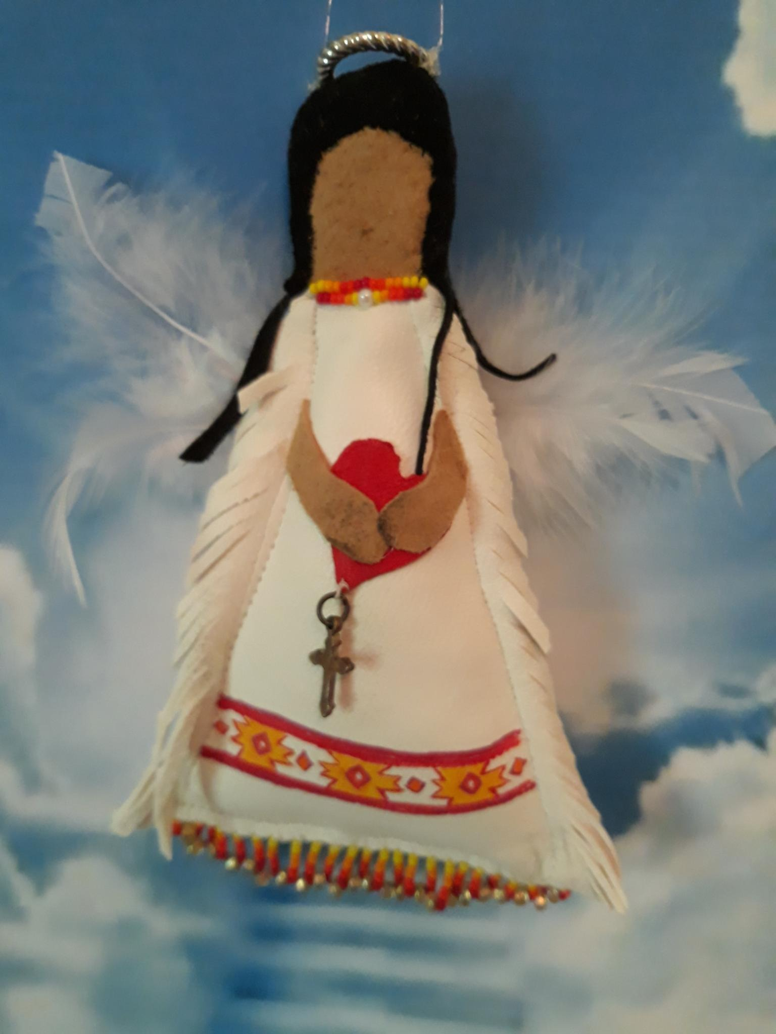 Hand Painted, Beaded and Sewn Spirit Angel